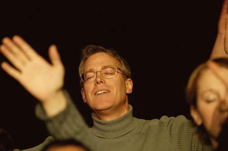 church worship: People worshipping Stock Photo