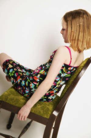 A girl with a colorful dress Фото со стока