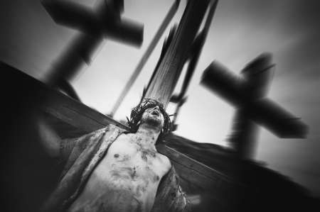 a righteous person: Jesus is crucified Stock Photo