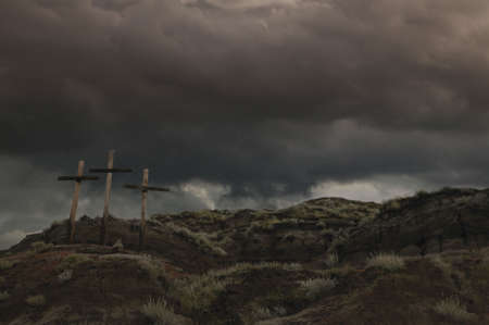 righteous: Three crosses on a hill