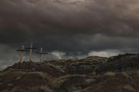 golgotha: Three crosses on a hill