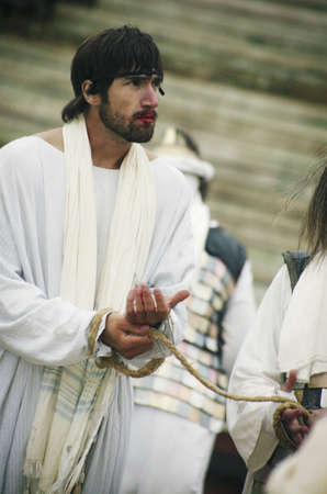 righteous: Jesus tied with ropes and arrested Stock Photo
