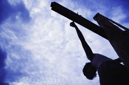 crucify: Jesus hanging on the cross