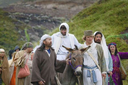 glorify: Jesus journey on the donkey Stock Photo