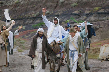 Jesus journey on the donkey Stock Photo