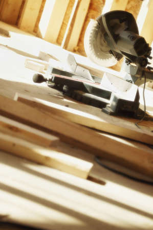 miter: Radial Arm Saw in building under construction