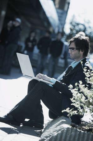 Man working on lap top Stock Photo