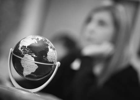 small world: World Globe in classroom