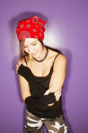 bowed head: Trendy teenage girl