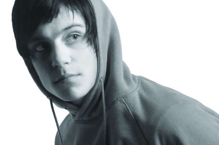casual hooded top: Cool teenage youth Stock Photo