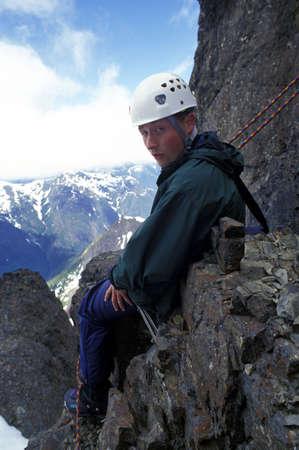 Bergbeklimmer nemen een rust