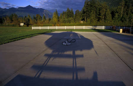 helicopter pad: Shadow of helicopter Stock Photo