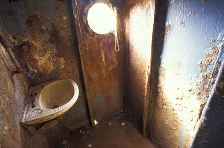 derelict: Interior of derelict boat Stock Photo