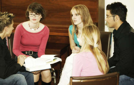 Group of teens studying