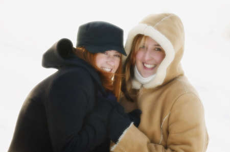 chums: Teenage girls outside in winter
