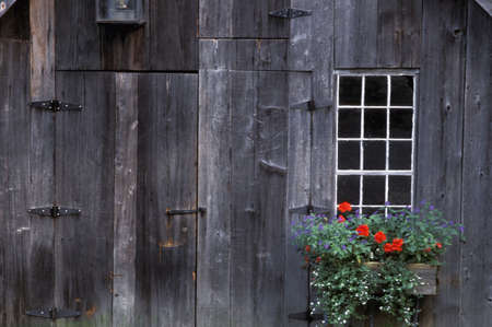 focal: Wooden building and window box