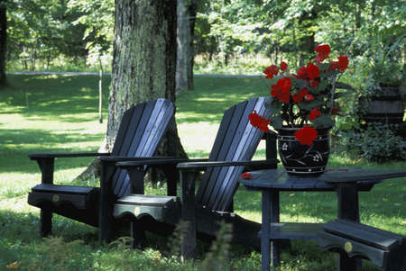 dappled: Outdoor chairs and table with red pot plant Stock Photo