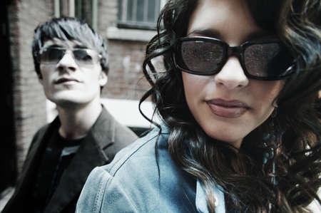Trendy urban cool couple photo
