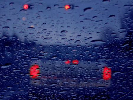 Vehicle lights in rain Banco de Imagens