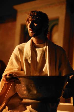 wash basin: Jesus with wash basin Stock Photo