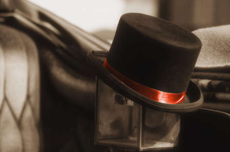 top: Black top hat Stock Photo