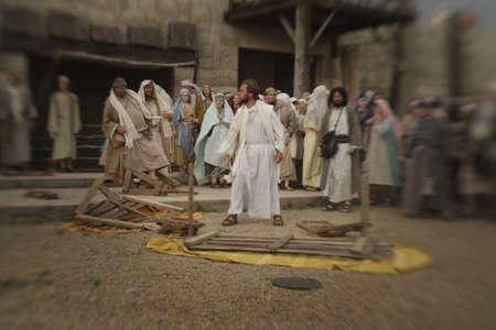 Jesus overturns the table Archivio Fotografico