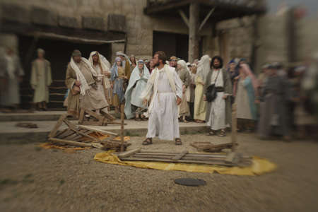 Jesus overturns the table photo