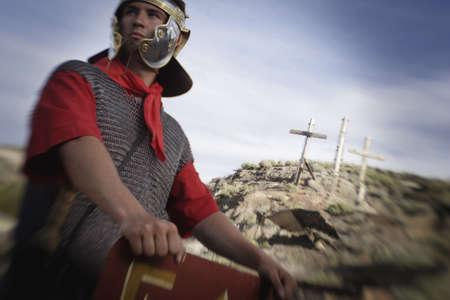 golgotha: Roman guard at Golgotha Stock Photo