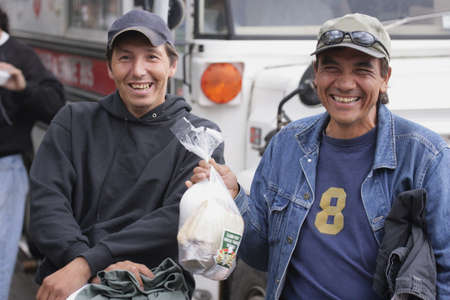 vagrant: Two friends stopping for lunch Stock Photo