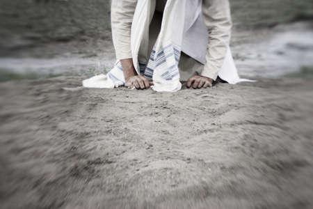 A man kneeling 写真素材
