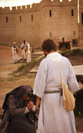 reverence: Kneeling for forgiveness Stock Photo