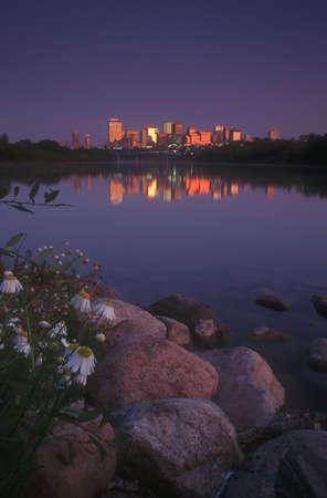 Edmonton Skyline op Dawn, Alberta, Canada