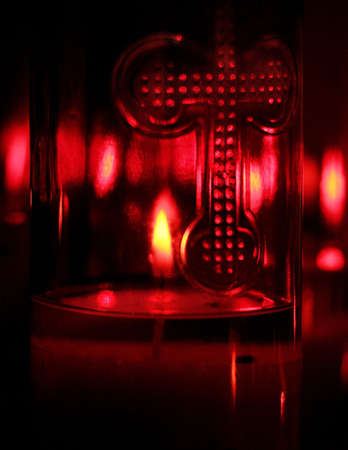 tanasiuk: Candle in glass holder Stock Photo