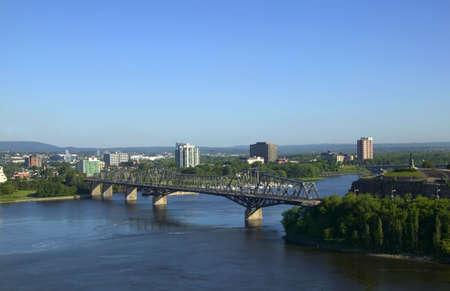 Bridge, river and surrounding countryside photo