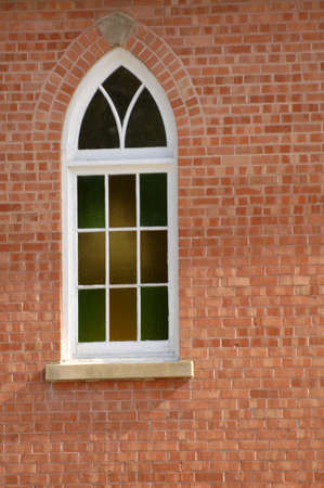 muz: A stained glass window of a church Stock Photo