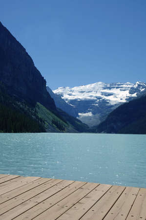 A view of mountains and a lake Stock Photo