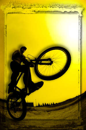 3D image of silhouette of cyclist photo
