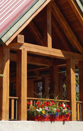Exterior of timber framed building Stock Photo
