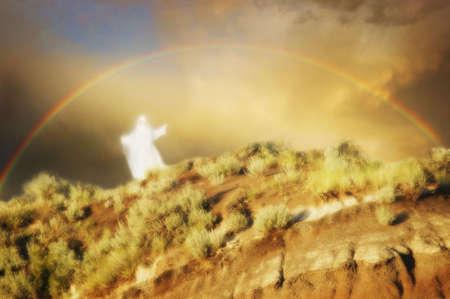 d�livrance: Angel sous un arc-en-ciel.
