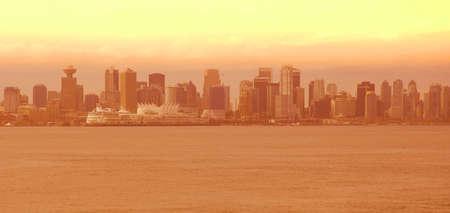 Skyline of foggy city