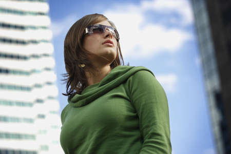 Woman with trendy sunglasses Stock Photo