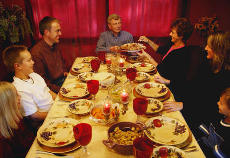 thankfulness: Thanksgiving dinner Stock Photo