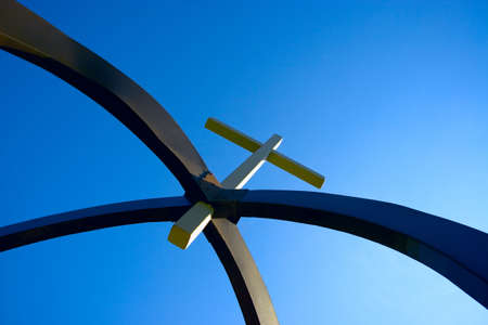 steve nagy: Cross suspended in arches