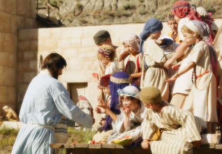 jewish: Jesus feeding children Stock Photo