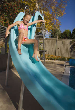 bath: Sliding down a slide