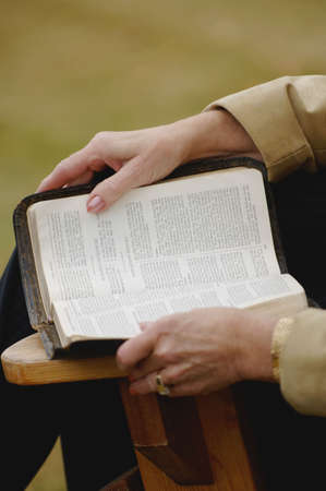 a righteous person: Reading the Bible Stock Photo