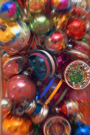 carson ganci: A background of Christmas decorations Stock Photo