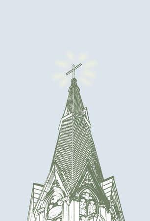 steeple: A church steeple