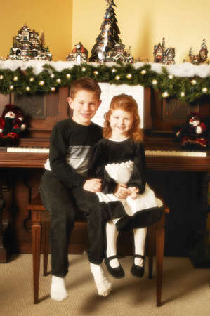 leah: Children at Christmas Stock Photo