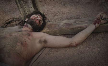 sacrificio: Jes�s en la Cruz. Foto de archivo